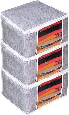 PrettyKrafts Saree Cover Set of 3 Large/Jute Finish/Wardrobe Organiser/Clothes Bag_Grey, Large