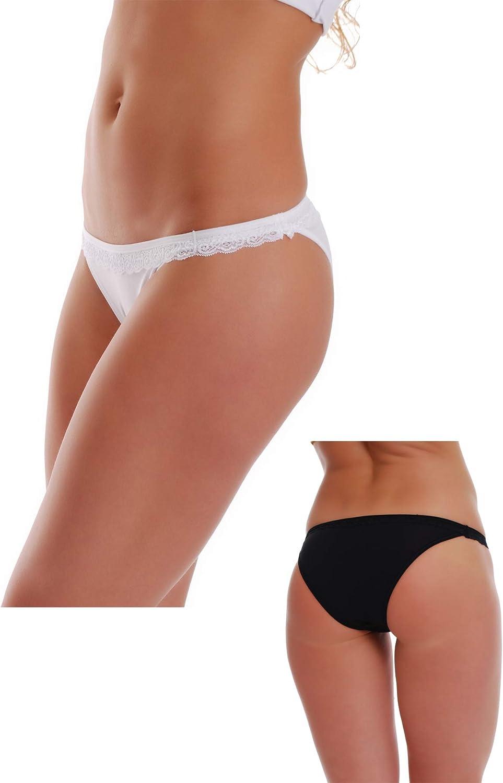 Made in EU 1235 TIARA GALIANO 2-Pack Cotton Tanga Panties with Lace