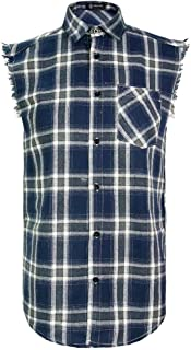Sleeveless Plaid Front Shirt for Men,Cowboy Button Down Shitrs