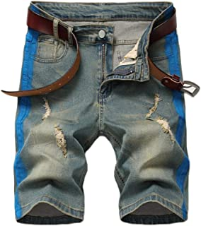 Go Mai Men's Casual Denim Shorts Classic Fit Distressed Ripped Short Jeans with Pockets