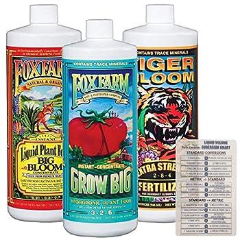 Fox Farm Liquid Nutrient Trio Hydro Formula  Big Bloom Grow Big Hydro Tiger Bloom  Pack of 3-32 oz Bottles  1 Quart Each + Twin Canaries Chart