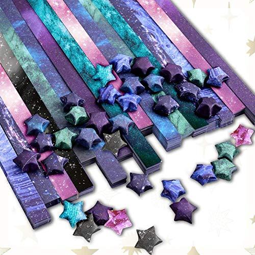 RRTYA 8 x 100 piezas Lucky Galaxy Star Origami Papel de Colores Regalo Artesanía Estrella Doblada Tiras de Papel Apiladas Hecho a Mano Decoración DIY Hogar (C1)