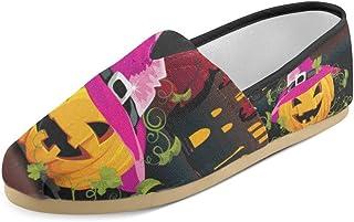 Artsadd Fashion Women's Loafers Halloween Pumpkins Bat Classic Casual Slip-on Canvas Shoes Sneakers Flats
