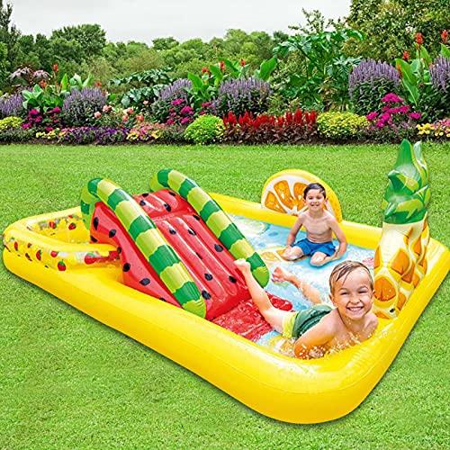Ishine Piscina inflable, olas de verano, piscina única para niños, piscina infantil, piscina inflable con tobogán (244 × 191 × 91 cm)