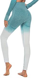 Workout Yoga Outfit Women,Seamless High Waist Leggings + Long Sleeve Crop Top/Tracksuit Activewear Set,for Fitness Gym Tra...