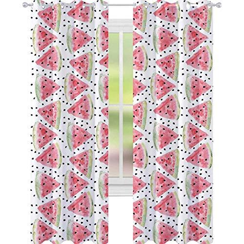 YUAZHOQI Cortinas de acuarela patrón de piezas dulces jugosas sandía con semillas opacas para sala de estar de 132 x 241 cm