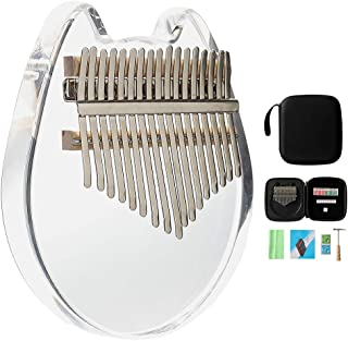 Kalimba with Eva bag 17 Keys Thumb Piano,Crystal Kalimba Acrylic Mbira Finger Piano, Musical Instrument Gifts for Kids Adult Beginners with Tuning Hammer and Study Instruction (Cat Shape)