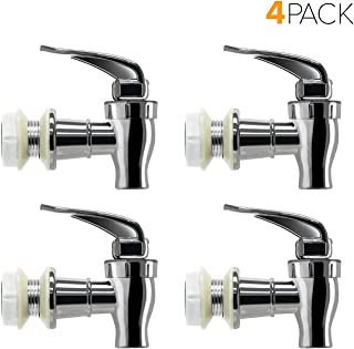 Brio Water Dispenser Replacement Valve 4 PACK, Cooler Faucet Spigot for Beverage Dispensers, Crocks, Coolers, and More BPA-Free Food Safe Material (Chrome)