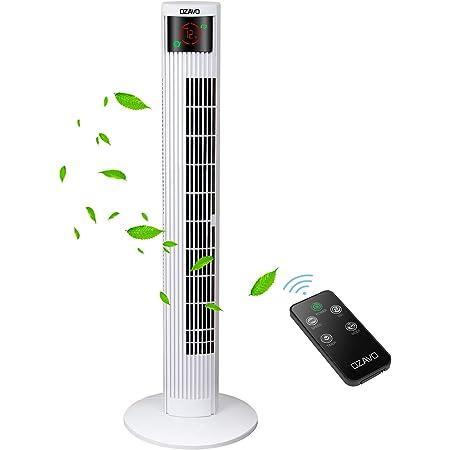OZAVO Ventilateur Tour Télécommande Hauteur 95cm, Ventilateur Colonne Silencieux Oscillation Sans Pale Écran LED & Minuterie - 3 Modes et Vitesses - Blanc