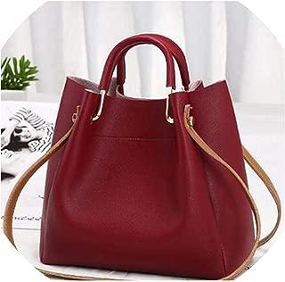 Simple Style Women Bag Bucket Leather Shoulder Bags Top handle Ladies Crossbody Messenger Bags Female Handbags