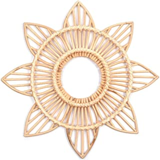Decorazione Boho Vimini Guajave a Forma di Girasole in Rattan Specchio da Parete Circolare