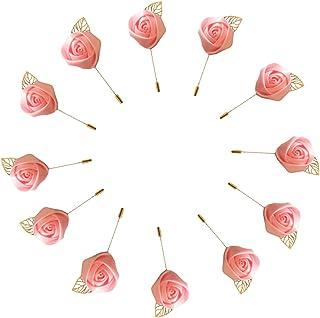 WeddingBobDIY 12Pieces/lot Groom Boutonniere Wedding Silk Rose(3.5cm) Flowers Accessories Prom Pin Man Suit Decoration Pink