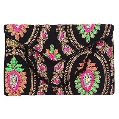 Brazeal Studio Women's Embroidered Fabric Ethnic Clutch