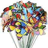 Material: the butterfly outdoor wall decorations are made from PVC, waterproof, suitable for both indoor and outdoor. The metal stake is thin, easy to bend on the branch, bird house and you can adjust its length. Package includes: 50pcs coloful butte...