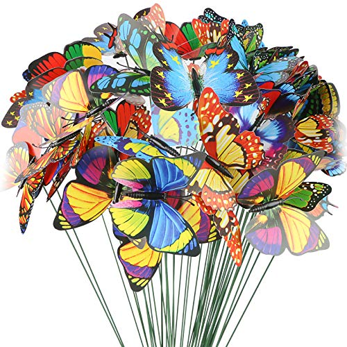 VGOODALL Butterfly Stakes, 50pcs 11.5inch Garden Butterfly Ornaments, Waterproof Butterfly Decorations for Indoor/Outdoor Yard, Patio Plant Pot, Flower Bed, Home Decoration