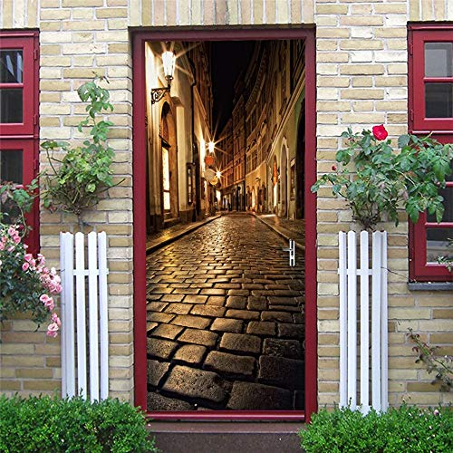 Pegatinas de Puerta geométricas Papel Tapiz Mural de Pared Calcomanías artísticas Renovación de Puertas Póster Autoadhesivo Extraíble Diseño para el hogar A27 77x200cm