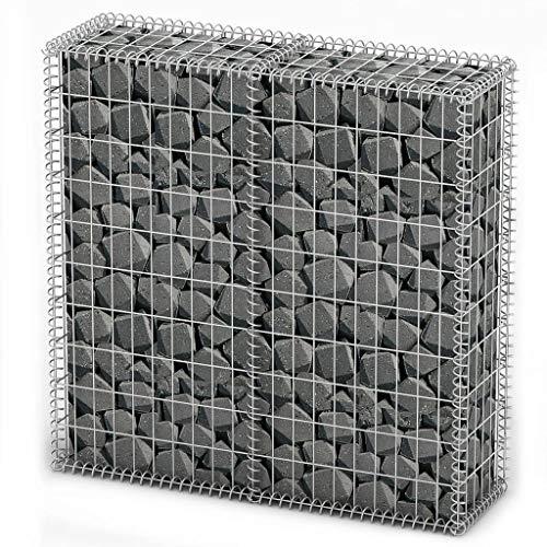 vidaXL Panier de Gabion avec Couvercle Fil Galvanisé 100x100x30 cm Clôture