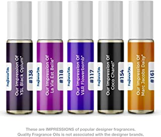 Women's Top 5 Perfume Oil Impressions (Generic Versions of Designer Fragrance) Sampler Gift Set of 5 10.35ml Roll-ons