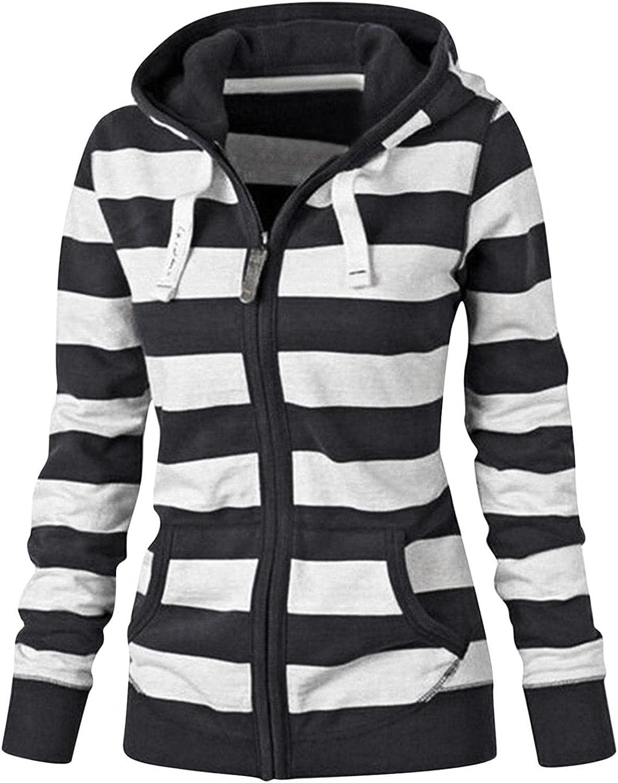 Hoodies for Women Plus Size, Women's Zip Up Hoodie Sweatshirt Long Sleeve Striped Lightweight Jacket with Kangaroo Pockets
