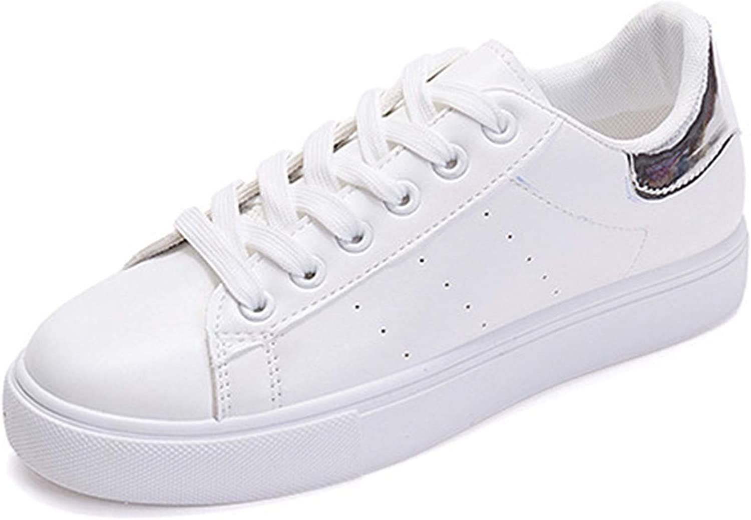 Women White shoes Flat Casual Vulcanized shoes Lace-Up Autumn Sneakers Platform Silver 5