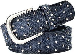 Women's Belt Alloy Pin Buckle Metal Rivet Inlaid Retro Belt. Casual (Color : Blue)