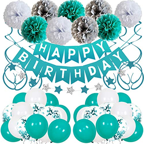 Teal Blue Birthday Decorations for Women Girls with Blue Happy Birthday Banner Teal and Silver Balloons Paper Pompoms Star Garland Decorations for 1st 2nd 13th 18th 21st 25th 30th 40th Baby Shower