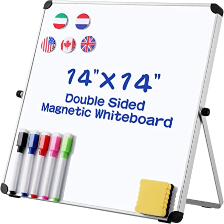 NUOBESTY Double- Sided Dry Erase Board Magnetic Whiteboard 14 x 14 Small White Board for Kids Students Teacher