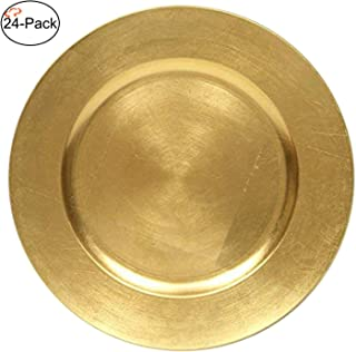 Tiger Chef 13-Inch Gold Metallic Charger Plates, Set of 2,4,6, 12 or 24 Dinner Chargers (24-Pack)