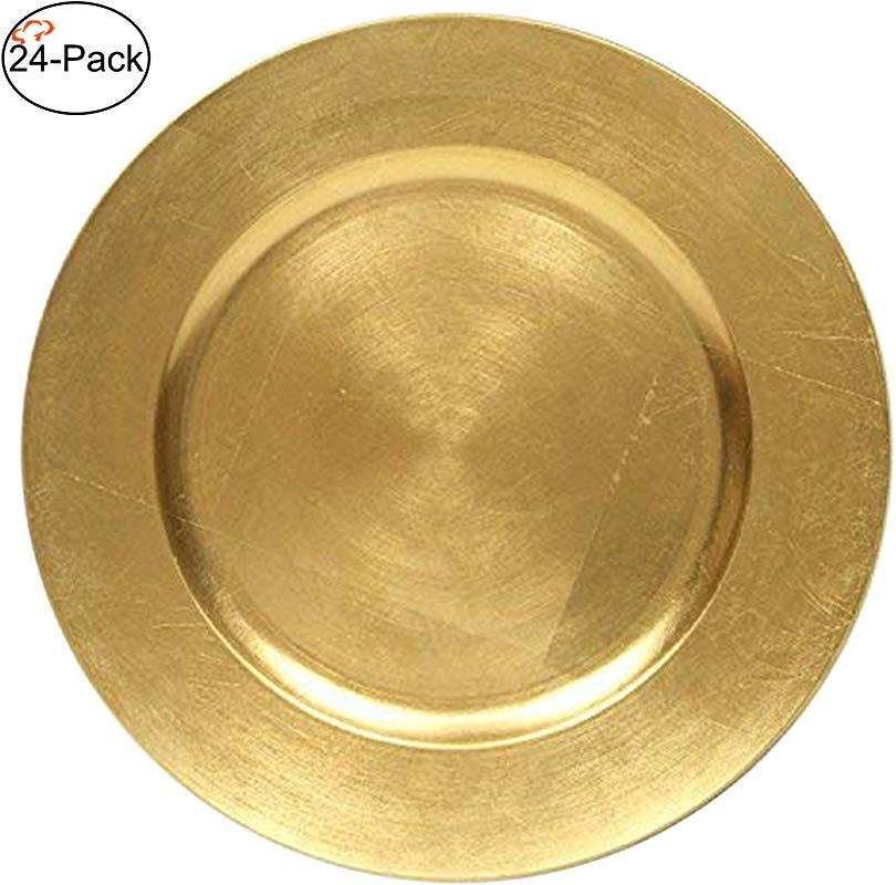 Tiger Chef 13 Inch Gold Metallic Charger Plates Set Of 2 4 6 12 Or 24 Dinner Chargers 24 Pack