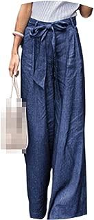 Loose Denim Wide Leg Pants Jeans Elastic High Waist Trousers Casual Bottoms