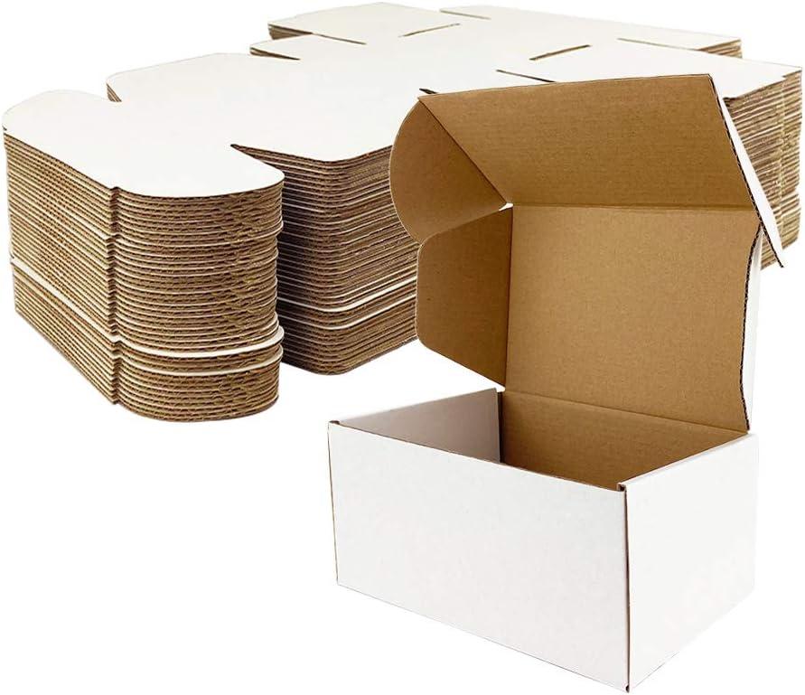 Giftgarden Caja de Cartón Kraft 10.2x10.2x5.1cm, Color Blanco, Cajitas de Carton Corrugado para Envíos, 25 Unidades