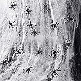 Swetup Ragnatele Halloween, Decorazioni di Halloween di ragnatele estensibili, Ragnatela da 100 g, 60 Ragni, Ragnatela per Decorazioni spaventose per Feste di Halloween