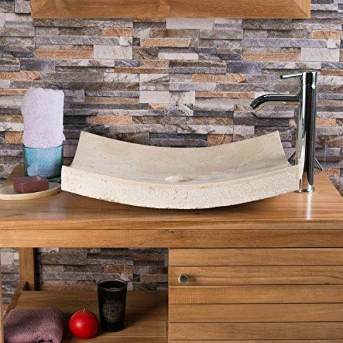 wanda collection Vasque à Poser Rectangle 50cm en Pierre marbre Genes crème