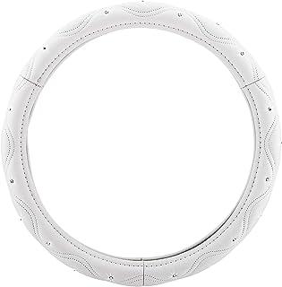 Pilot Automotive SWR-0114 Swarovski Wavy Stitch Steering Wheel Cover, White