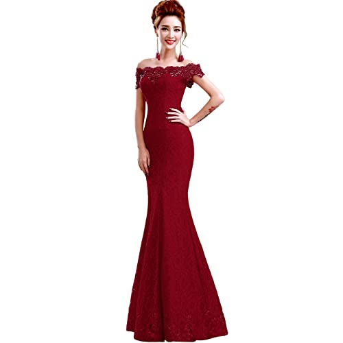 c87a042eb96 Babyonline Off Shoulder lace red Mermaid Evening Formal Bridesmaid Dress