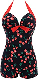 One Pieces Solid Floral Lace Up Pin Up Sexy Women Front Strappy Cross Swimwear