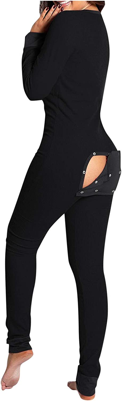 Women's Sexy Deep V Neck Butt Flap Pajamas Onesie Loose Buttoned Flap Bodysuit Sleepwear Jumpsuit Thermal Underwear Set