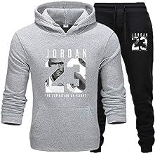 Mens 23 # Jordan Winter Sport Trainingspak 2 Stks Gym Basketbal Plus Fluwelen Sportkleding Jas Casual Sport Trui Broek, C, S