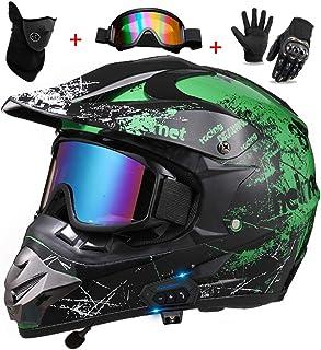 Bluetooth Motorcycle Helmet, Street Off Road Racing Motocross Helmet, Double Sport Cross Downhill Full Face Helmet Set, DO...