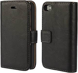 iPhone 4 Case, iPhone 4s Wallet Case, Wallet Leather Heavy Duty Protection Soft TPU Back Kickstand Case for Apple iPhone 4 / 4s - Black