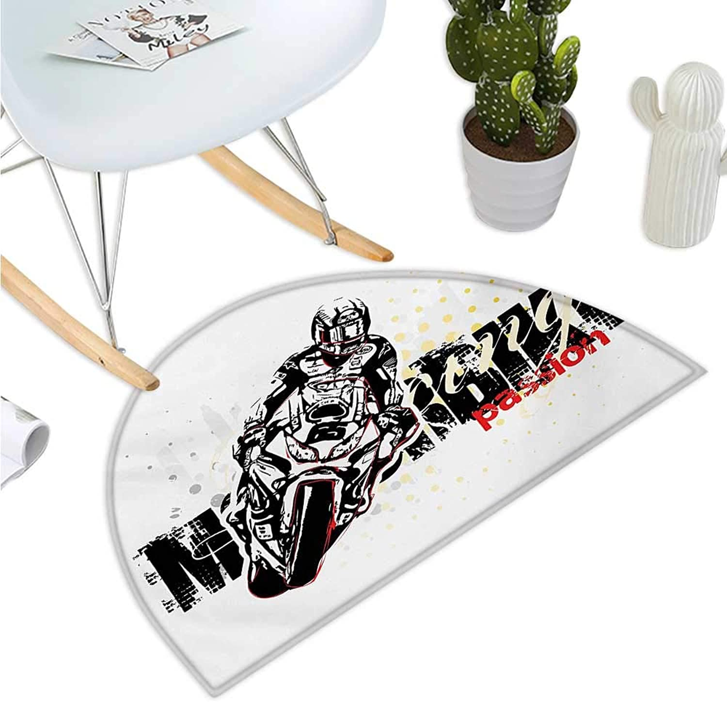 Motorcycle Half Round Door mats Motorbike Illustration Doted Grungy Background Super Bike Passion Silhouette Bathroom Mat H 35.4  xD 53.1  Black Yellow