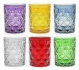 Pagano Home 6 Bicchieri per Acqua/wisky Colori Assortiti Multicolore in Vetro capacità 320 ml Gear (Rosso Trasparente Lilla Verde Arancio Celeste)