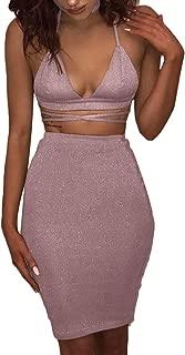 Women's Glitter V Neck Halter Backless Sleeveless Bandage Bodycon Midi Dress