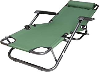 Foldable Beach Chair Lightweight Portable Camping Chair, Outdoor Folding Chair with Head-Rest and Pocket for Camping Picni...