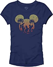 Disney Mickey Mouse Sunset Silhouette Disneyland World Tee Funny Humor Women's Juniors Slim Fit Graphic T-Shirt Apparel