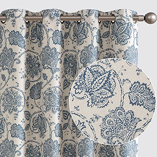 jinchan Floral Scroll Printed Linen Textured Curtains Grommet Top Ikat Flax Textured Medallion Design Jacobean Room Darkening Curtains Retro Living Room Window Covering Blue 95 Inch Length 2 Panels