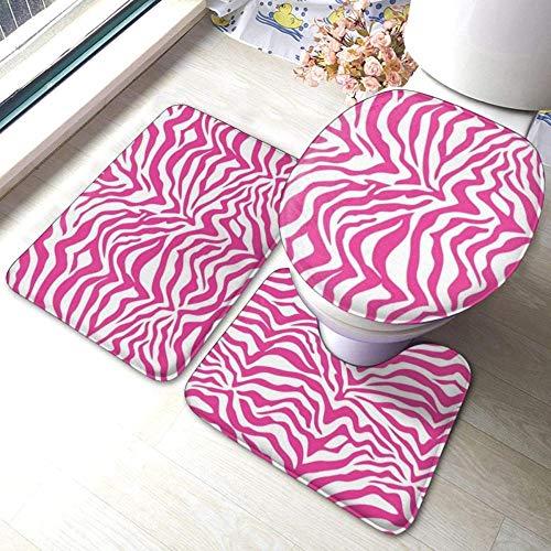 Juego de alfombrillas de baño con rayas de cebra rosa intenso, 3 piezas, alfombras de baño suaves para ducha, alfombrilla de contorno y tapa de inodoro, combinación perfecta y comodidad