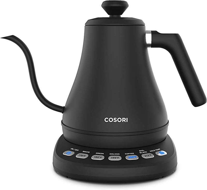 COSORI Electric Gooseneck Kettle With 5 Variable Presets Pour Over Coffee Kettle Tea Kettle 100 Stainless Steel Inner Lid Bottom 1200 Watt Quick Heating 2 Year Warranty 0 8L Matte Black
