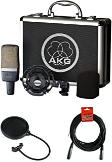 AKG C214 Large-Diaphragm Condenser Microphone with Pop Filter & 20' XLR Cable