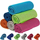 KEAFOLS Asciugamano Raffreddamento 6 Pezzi Asciugamano Microfibra Asciugatura Rapida, Sportivo Asciugatura Rapida Gym Sciarpa Towel per l'escursione Golf Campeggio Corsa Yoga